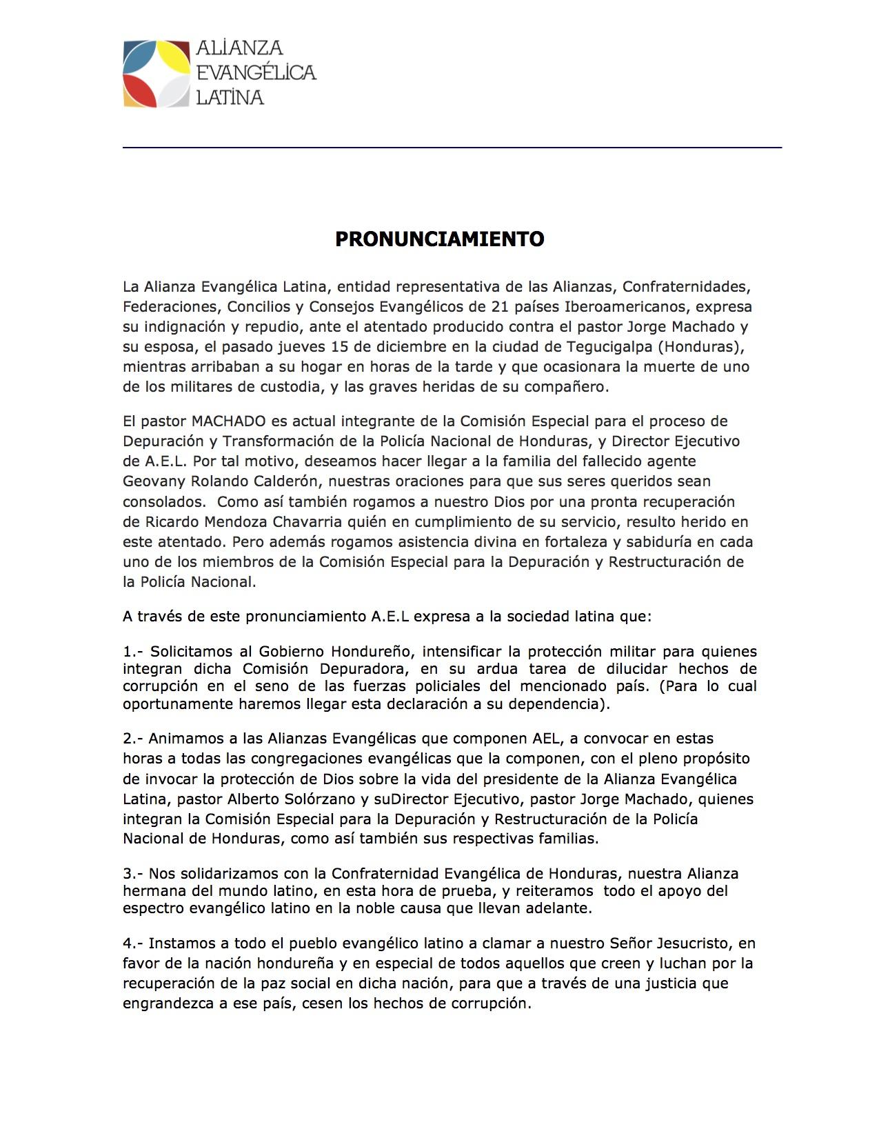 AEL COMUNICADO POR ATENTADO EN HONDURAS ACIERA